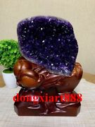 26 Cm Natural Amethyst Crystal Lucky Feng Shui Specimen Energy Heal Statue F0103