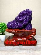 33 Cm Natural Amethyst Crystal Lucky Feng Shui Specimen Energy Heal Statue F207