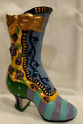 Milson Louis Hand Painted Cast Iron Victorian Boot Whimsical Door Stop