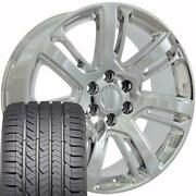 22x9 Wheel And Tire Fits Chevy Gm Escalade Chrome Rims Gy Tires 4738 Cp