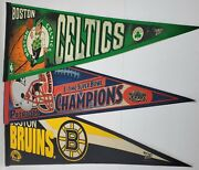 Lot Of 3 New England Sports Patriots Bruins And Celtics Wincraft Sports Pennants