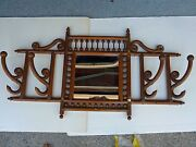 Antique Victorian Oak Hat And Coat Rack / Bentwood / Gingerbread - Marked Feb 1892