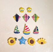 Vintage Lot Of 12 Ceramic Button Covers Tweety Bird Sailboat Sunflower And Kites