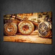 Vintage Pocket Watches Modern Canvas Wall Art Print Picture Ready To Hang