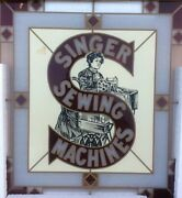 Nib Advertizing Sign Singer Sewing Machines 16 X 18 Multi-color Stain Glass Sign