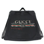 Pre-owned 494053 Coco Capitan Drawstring Backpack Black Leather F/s