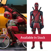 Hzym Deadpool Cosplay Costume In Stock Wade Leather Outfit Red Halloween