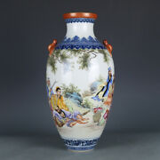 13.8 Porcelain Chinese Qianlong Mark Gilt Famille Rose Eight Immortals Vases