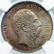 1902 Germany German States Saxony King Albert Death Silver 2 Mrk Coin Ngc I86965