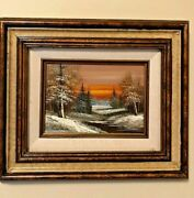 Signed Original Cameron Oil Painting For United Airline Winterscape