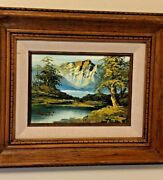 Signed Original Oil Painting For United Airline Mountain Scape