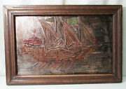 Antique Handmade Embossed Copper Boat With Wooden Frame Wall Hanging Vs