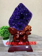38 Cm Natural Amethyst Crystal Lucky Feng Shui Specimen Energy Heal Statue F214