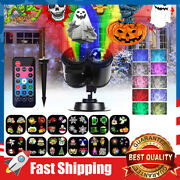 2-in-1 Led Lights Projector W/ 12 Slides Patternswaterproof For Holiday Decor