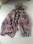 Anthropologie Chunky Knit Pink+green Multi Blanket Scarf/shawl/wrap Bnwt Andpound79