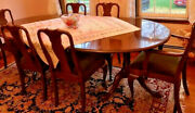 Stickley Solid Cherry Queen Anne Dining Room Set 2 Inserts 4 Side And 2 Arm Chairs