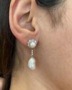 Vintage Baroque Pearl And Diamond Drop Earrings In 14k White Gold - Hm1001ss