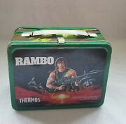 Rambo 1985 Vintage Metal Lunch Box And Thermos Green Sylvester Stallone