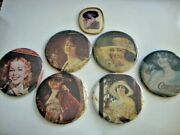 Vintage Collector Coca Cola Compact Pocket Mirrors And Pins Lot Of 7