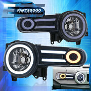 For 07-14 Toyota Fj Cruiser Black Drl Led Tube Projector Headlights Lamps Pair