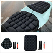 2pcs Motorcycle Inflatable Cushion Black Comfortable Anti-slip With 2pc Air Pump