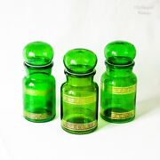 Set Of 3 Belgian Vintage Emerald Green Glass Apothecary Jars Bottles With Lids