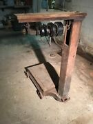 Antique Portable Platform Scale Cast Ironbrass And Wood-local Pickup Only