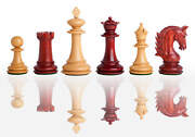 The Bergamo Luxury Chess Set - Pieces Only - 4.4 King - Blood Rosewood