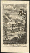Antique Print-hottentots-khoikhoi-spear-fighting-south Africa-kolbe-pool-1727