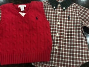 New Baby Toddler Boys Red Cable Knit Sweater Vest Shirt 9 Months