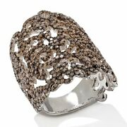 Hsn Rarities 2ct 14k White Gold Over Champagne Diamond Lace Ring Size 8