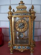 Beautiful Early 20th Century French Champleve Enamel Mantel Clock