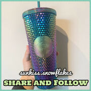 Rare Authentic Starbucks Singapore Studded Magical Green Oil Slick Cold Cup 24oz