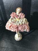 Antique Mz Germany Dresden Porcelain Lace Dancer Figurine 7andrdquo As-is