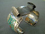 Thomas Singer Navajo Turquoise Coral Chip Inlay Sterling Silver Watch Bracelet