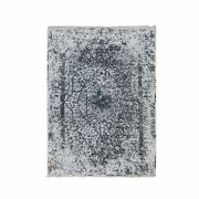 4and0391x6and039 Erased Farsian Design Wool And Pure Silk Hand Knotted Oriental Rug R58553