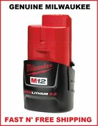 New Genuine Milwaukee M12 48-11-2420 Battery 2.0 Ah 12-volt Red Lithium Ion