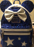 Nwt Disney Parks Loungefly Blue Wishes Come True Mini Sequin Mickey Backpack