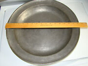 Antique 1700and039s Forged Pewter Platter Plate Bowl 16 1/4 Marked Fd