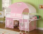 Twin Princess Sweetheart Tent Loft Bunk Bed Ladderpink And White 460202