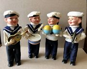 1958 Max Carl West Germany Wind Up Tin Toy Sailor Band Boys Ahoi Navy Band