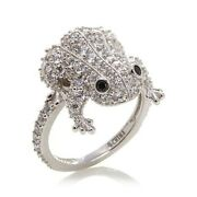 Hsn Jean Dousset Sterling Silver Black Spinel And Cubic Zirconia Frog Ring Size 7