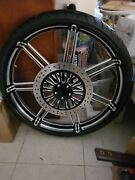 26 X 3.5 Sd Billet Wheel Blk Contrast Bw Tire Harley Flh 25mm Non Abs 08/ Up