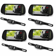 Pyle Plcm7200 7 Inch Rearview Mirror Monitor Night Vision Backup Camera 4 Pack