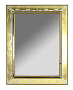 Vintage Mid-century Modern Eglomise Gold Acanthus Leaf Wall Mirror By Armand Lee