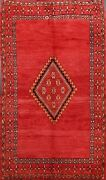 Antique Tribal 6x9 Geometric Moroccan Oriental Area Rug Hand-knotted Wool Carpet
