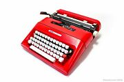 Red Olivetti Lettera 35- Vintage Serviced Working Manual Typewriter