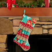 Nwt The Pioneer Woman Vintage Floral And Burlap Christmas Holiday Stocking