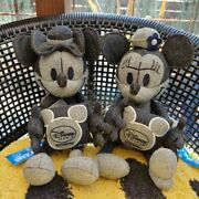 Disney Right-on Denim Fabric Mickey Minnie Mouse Plush Doll Toy Collaboration Jp