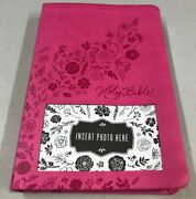 Niv Thinline Bible Embossed Pink Faux Leather Cover 2011 For Teens Photo Insert